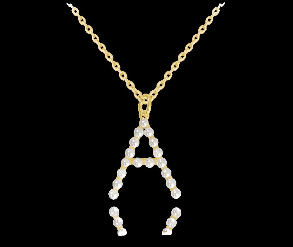 """MINET Pozlacený stříbrný náhrdelník MINET písmeno """"A"""" s perličkami JMAS710AGN45"""