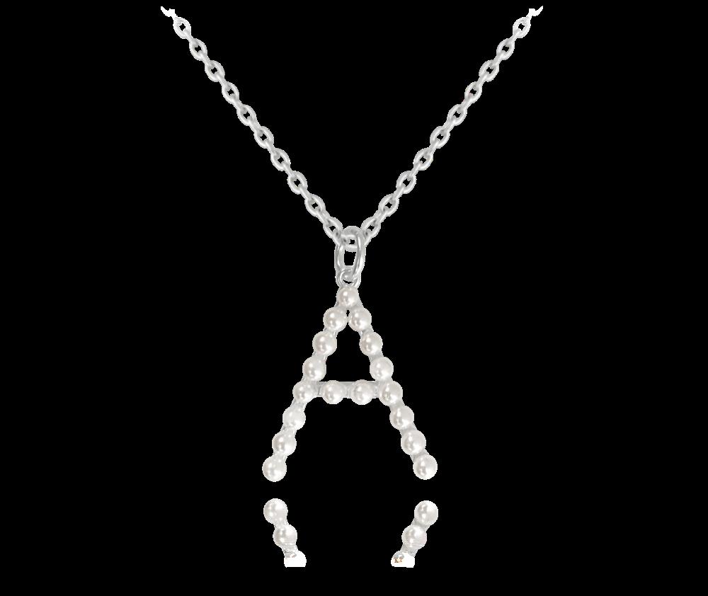 """MINET Stříbrný náhrdelník MINET písmeno """"A"""" s perličkami JMAS710ASN45"""
