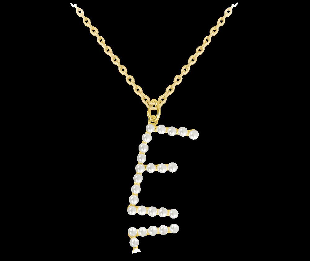 """MINET Pozlacený stříbrný náhrdelník MINET písmeno """"E"""" s perličkami JMAS710EGN45"""
