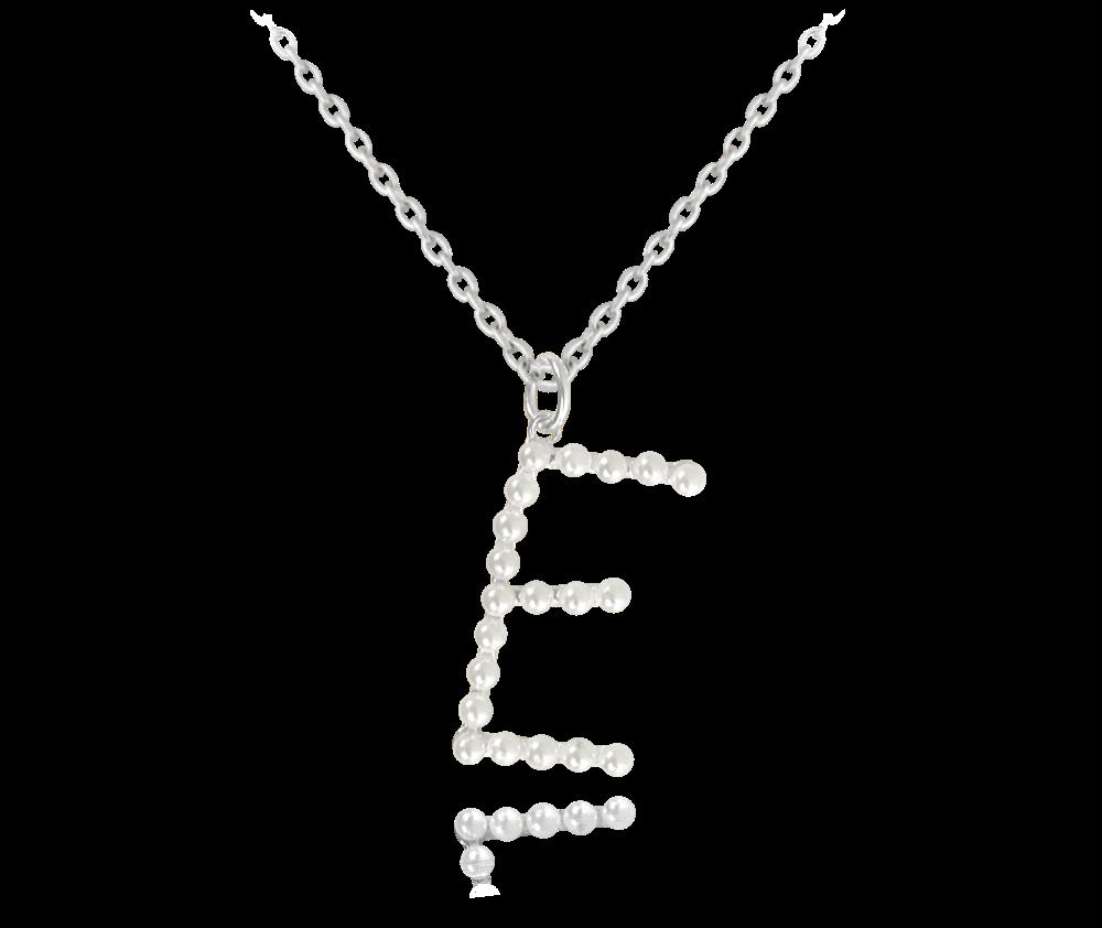 """MINET Stříbrný náhrdelník MINET písmeno """"E"""" s perličkami JMAS710ESN45"""