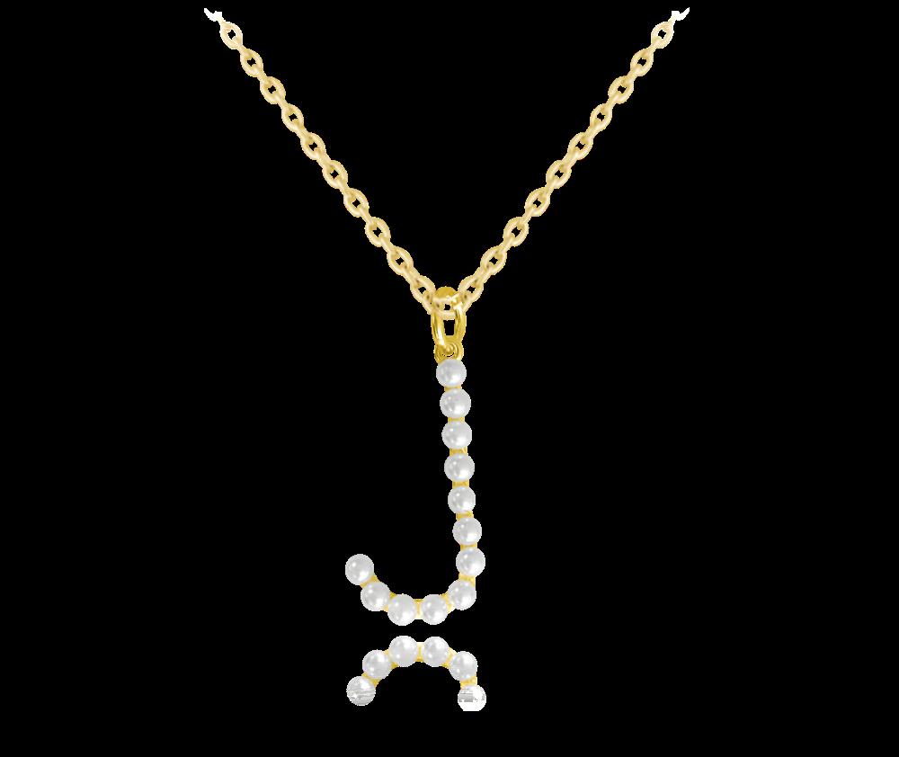 """MINET Pozlacený stříbrný náhrdelník MINET písmeno """"J"""" s perličkami JMAS710JGN45"""