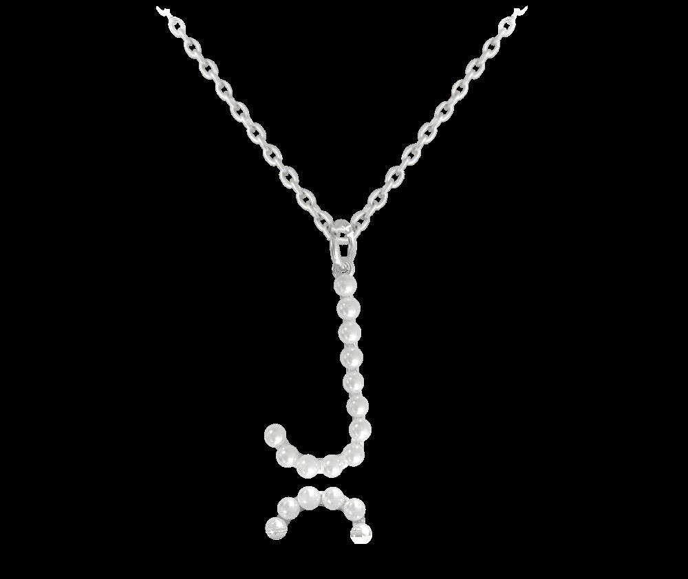 """MINET Stříbrný náhrdelník MINET písmeno """"J"""" s perličkami JMAS710JSN45"""