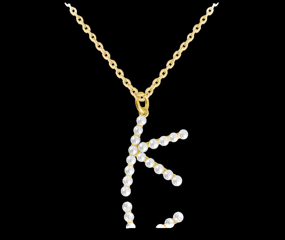 """MINET Pozlacený stříbrný náhrdelník MINET písmeno """"K"""" s perličkami JMAS710KGN45"""