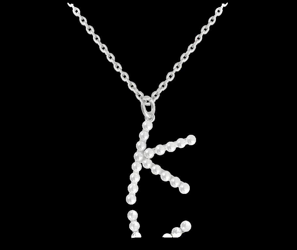 """MINET Stříbrný náhrdelník MINET písmeno """"K"""" s perličkami JMAS710KSN45"""