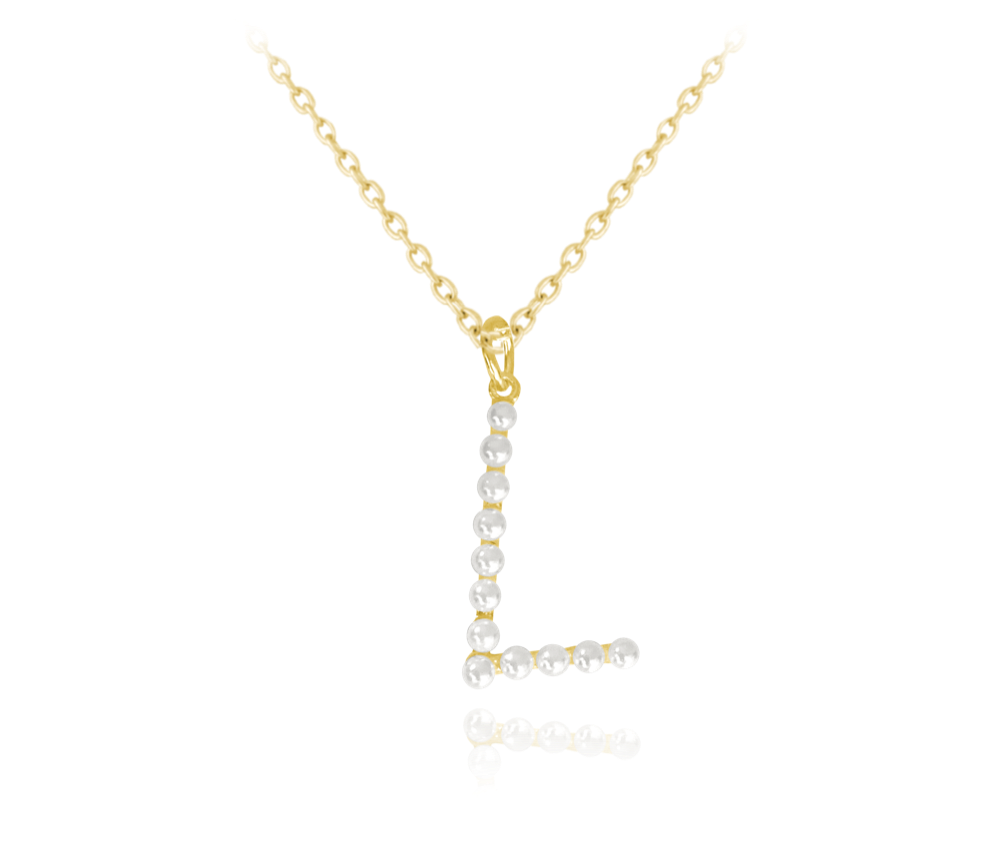 """MINET Pozlacený stříbrný náhrdelník MINET písmeno """"L"""" s perličkami JMAS710LGN45"""
