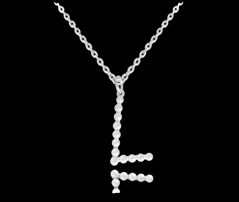 """MINET Stříbrný náhrdelník MINET písmeno """"L"""" s perličkami JMAS710LSN45"""