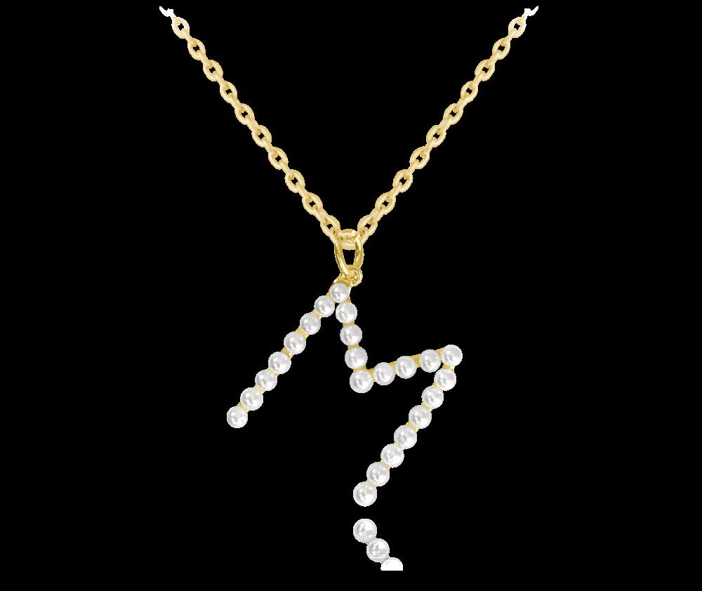 """MINET Pozlacený stříbrný náhrdelník MINET písmeno """"M"""" s perličkami JMAS710MGN45"""