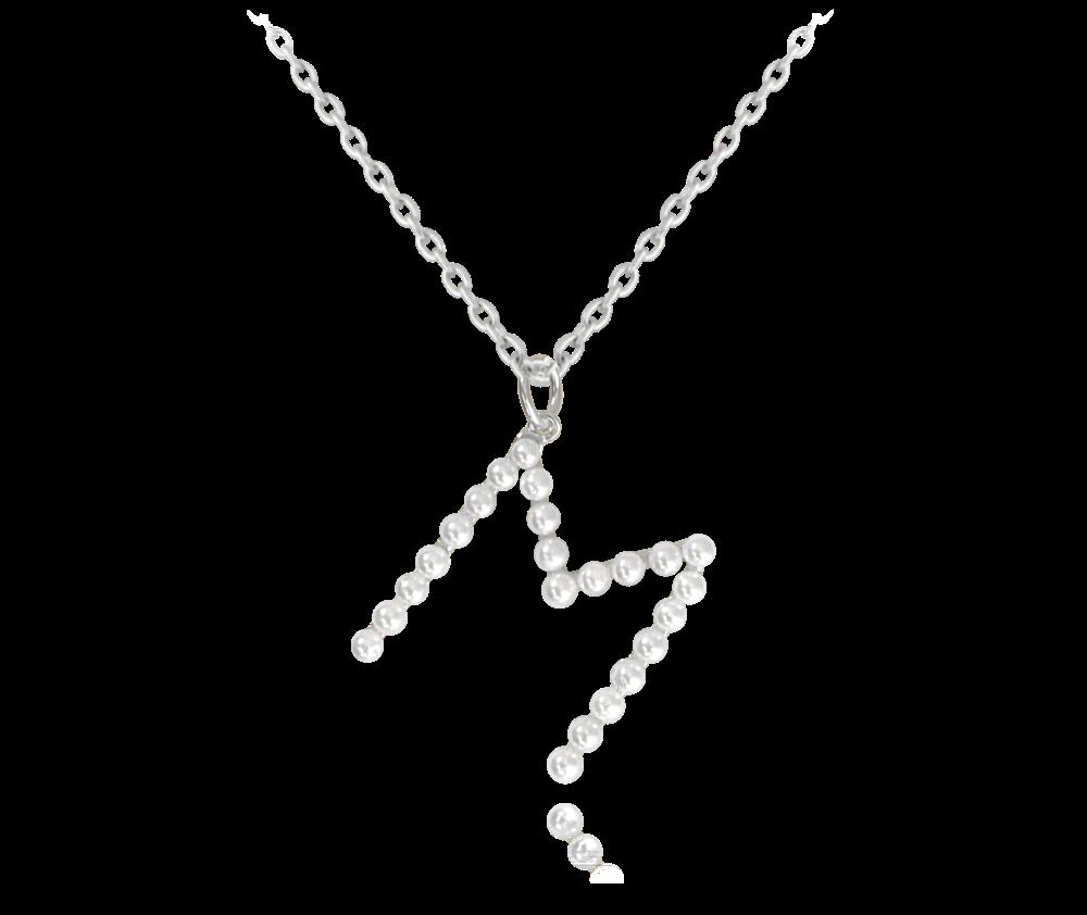 """MINET Stříbrný náhrdelník MINET písmeno """"M"""" s perličkami JMAS710MSN45"""