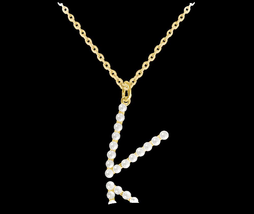 """MINET Pozlacený stříbrný náhrdelník MINET písmeno """"V"""" s perličkami JMAS710VGN45"""
