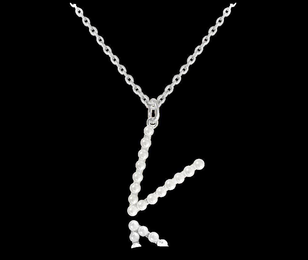"""MINET Stříbrný náhrdelník MINET písmeno """"V"""" s perličkami JMAS710VSN45"""