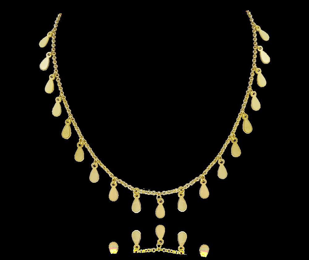 MINET Pozlacený stříbrný náhrdelník MINET s drobnými přívěsky JMAS0099GN45