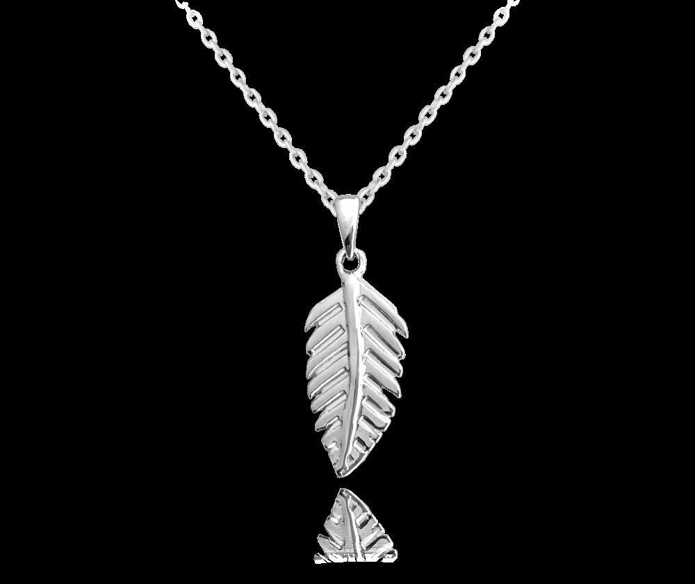 MINET Stříbrný náhrdelník MINET PEŘÍČKO JMAS5044SN45