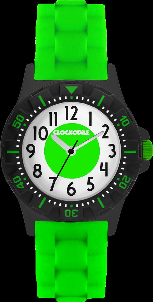 Svítící neonově zelené sportovní chlapecké hodinky CLOCKODILE SPORT 3.0