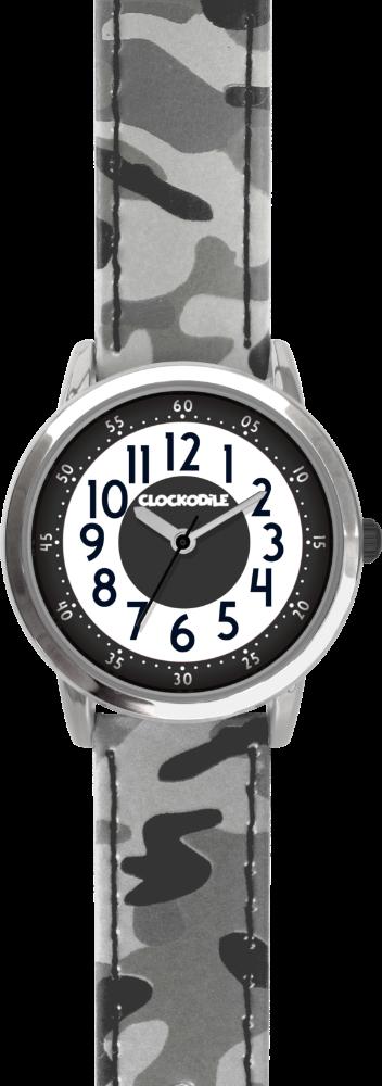 Svítící šedé chlapecké hodinky CLOCKODILE ARMY s maskáčovým vzorem