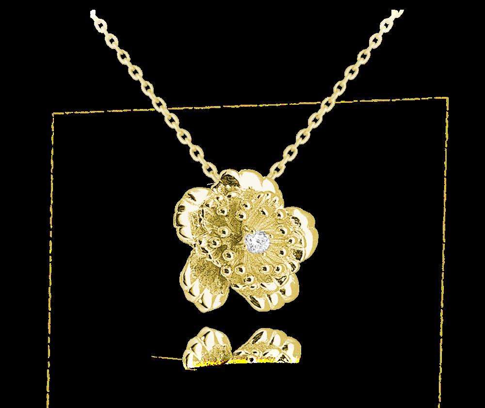 MINET Pozlacený stříbrný náhrdelník MINET KYTIČKA s zirkonem JMAS0100GN45