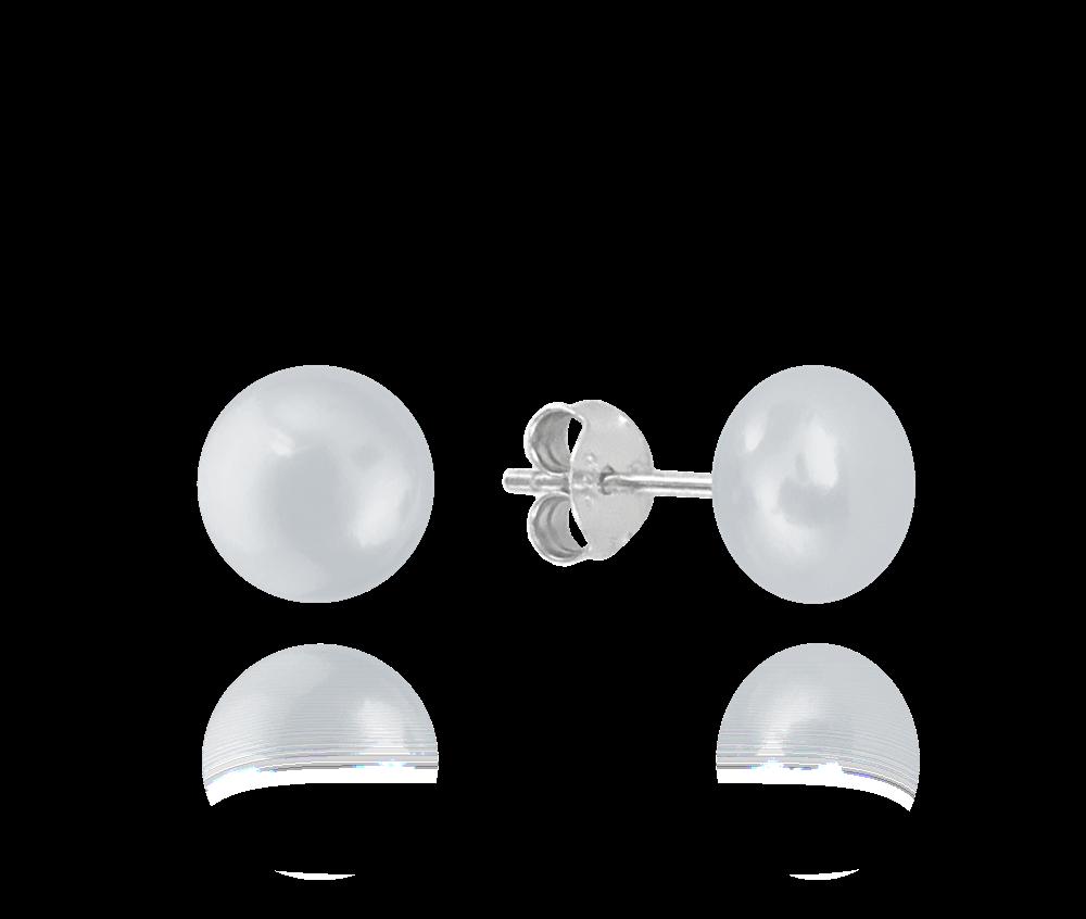 Stříbrné náušnice MINET PERLY - stříbrné 8mm