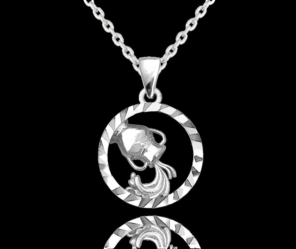 MINET Stříbrný náhrdelník MINET Zodiac znamení VODNÁŘ JMAS9402SN45