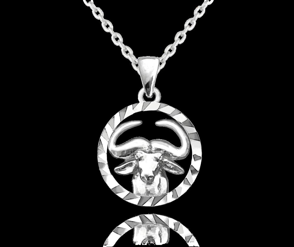 MINET Stříbrný náhrdelník MINET Zodiac znamení BÝK JMAS9405SN45