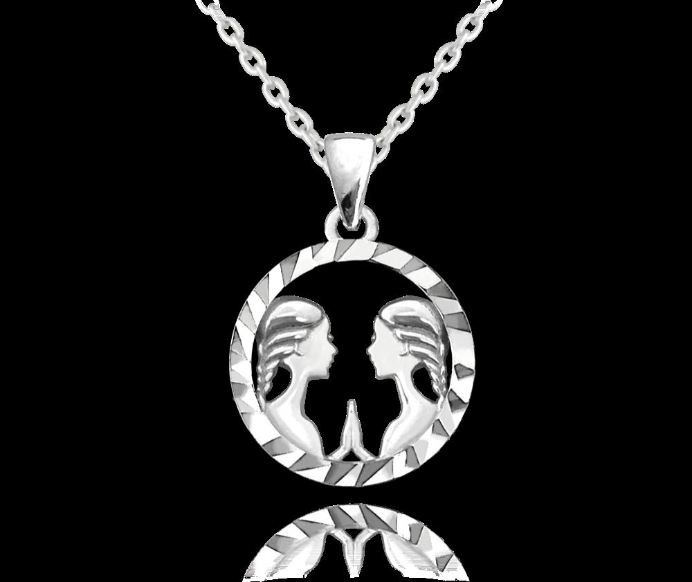MINET Stříbrný náhrdelník MINET Zodiac znamení BLÍŽENCI JMAS9406SN45