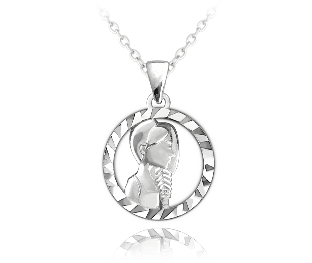 MINET Stříbrný náhrdelník MINET Zodiac znamení PANNA JMAS9409SN45