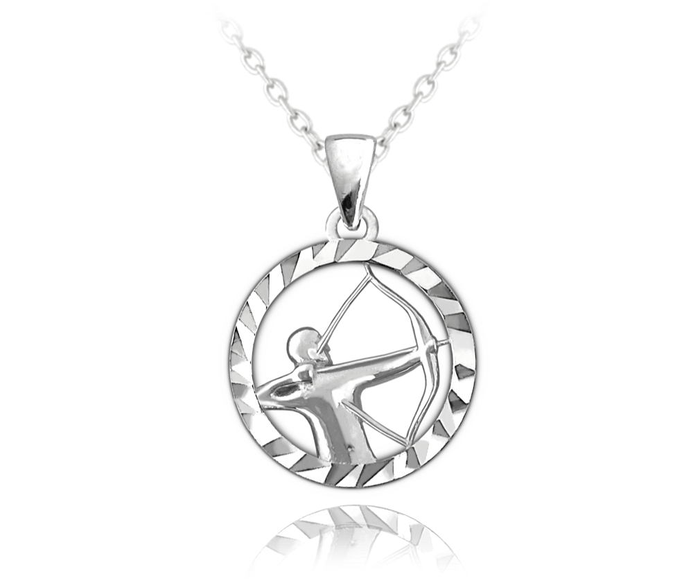 MINET Stříbrný náhrdelník MINET Zodiac znamení STŘELEC JMAS9412SN45