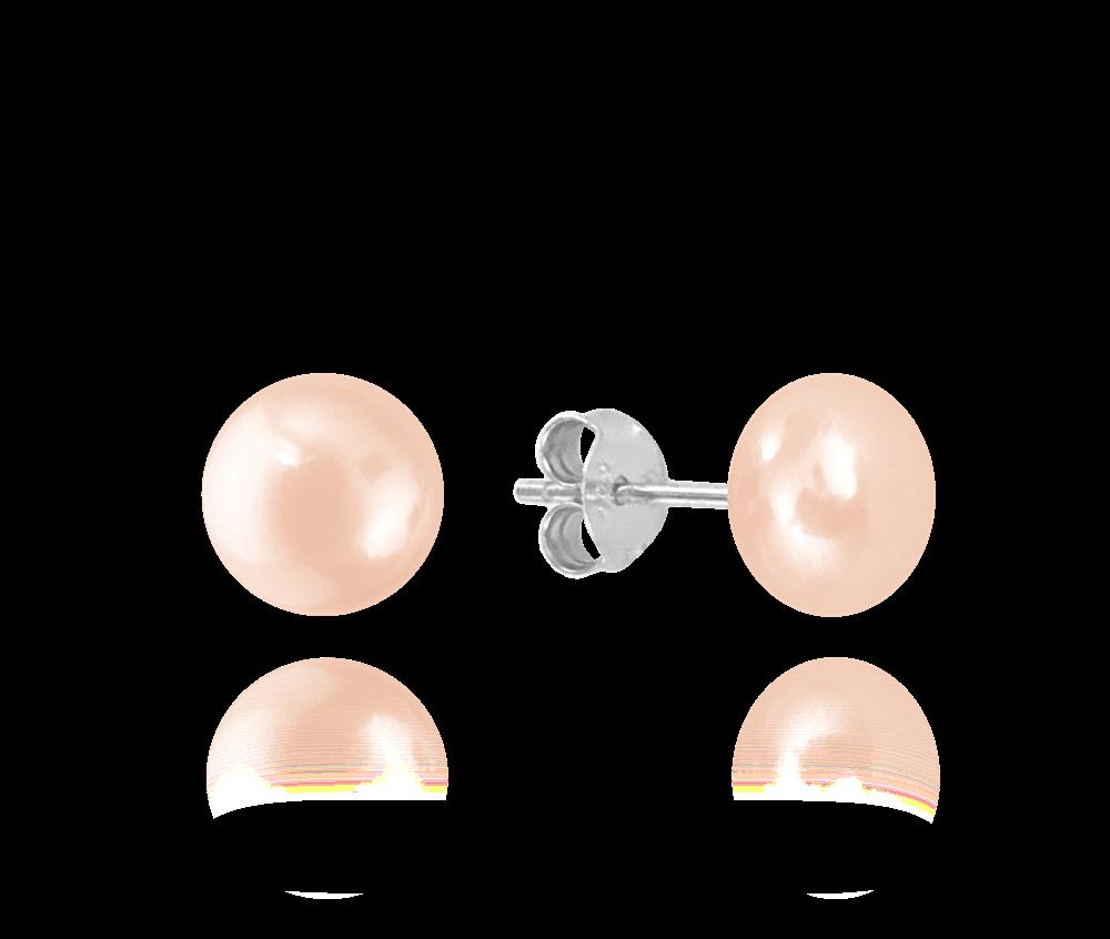Stříbrné náušnice MINET PERLY - růžové 8mm