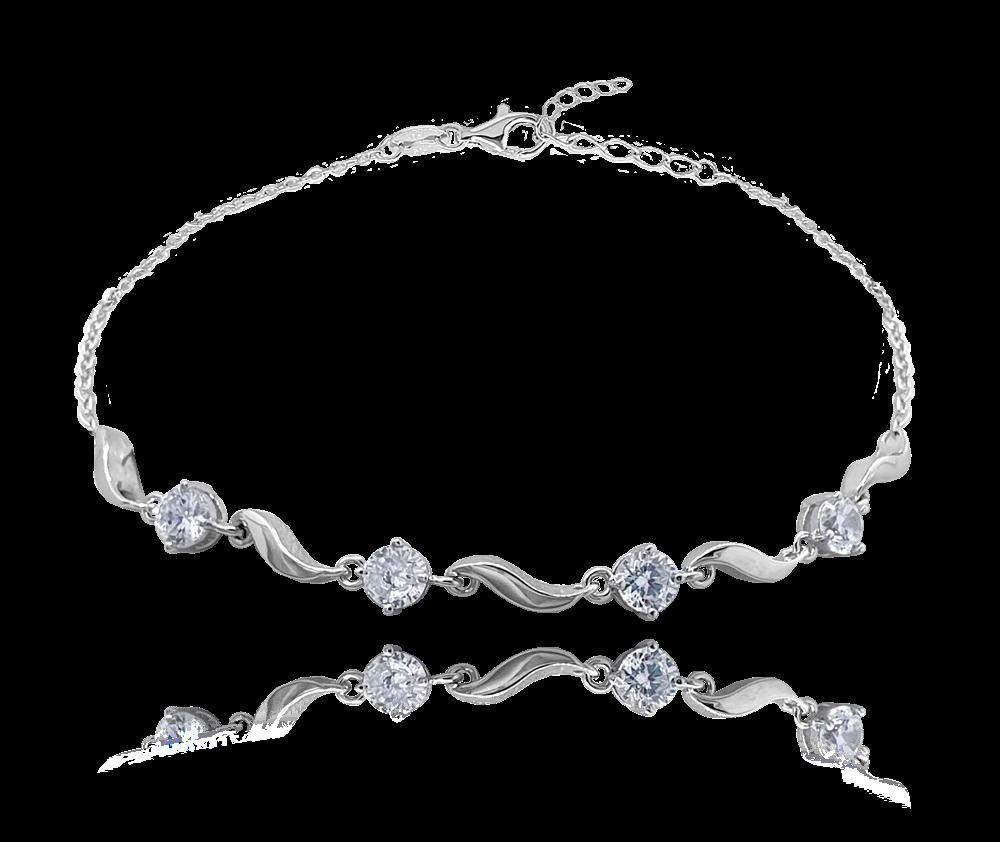 MINET Luxusní stříbrný náramek MINET s bílými zirkony JMAN0224SB16
