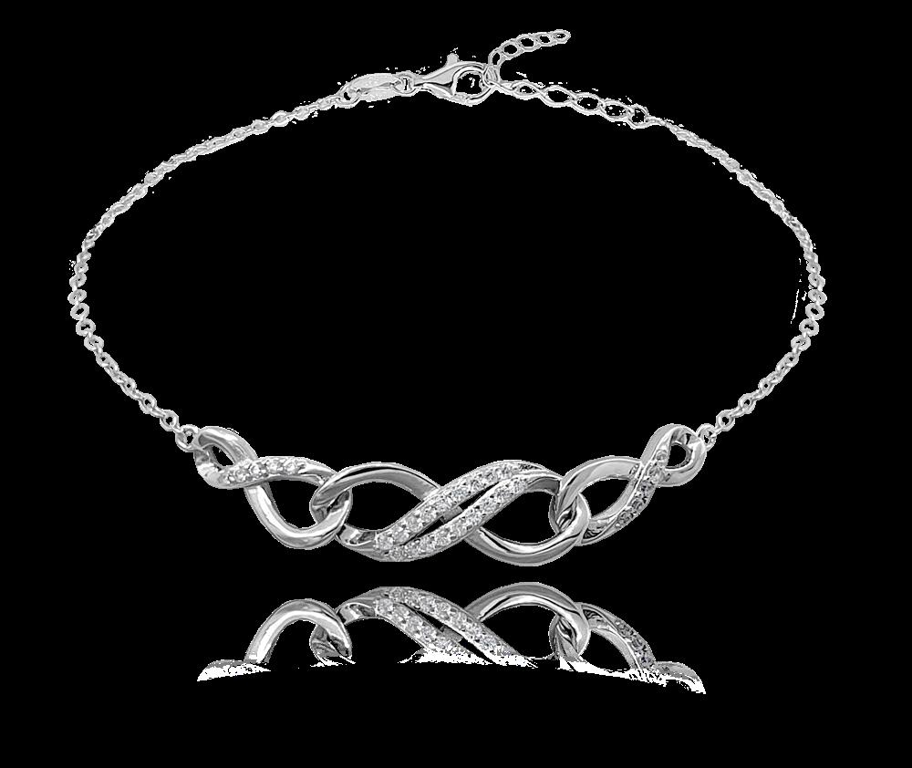 Spletený stříbrný náramek MINET se zirkony
