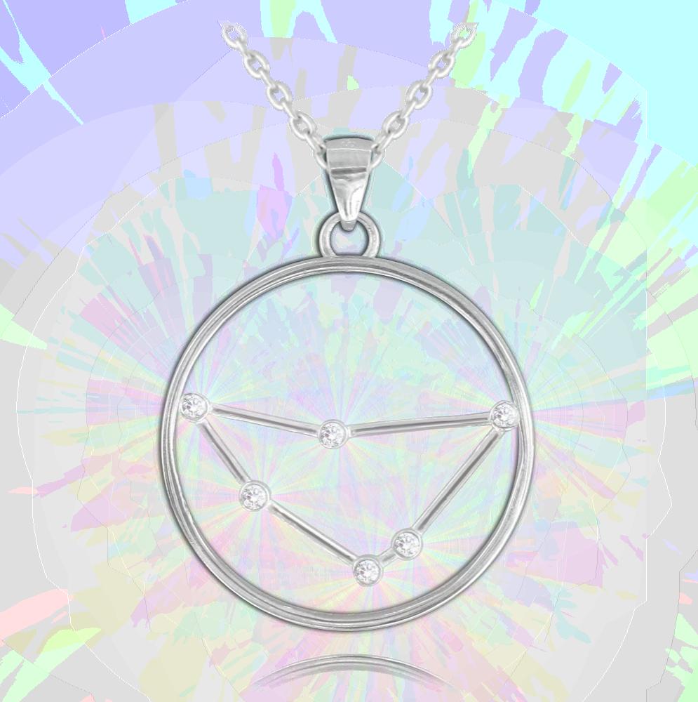 MINET Stříbrný náhrdelník MINET Stars KOZOROH Czech Crystal JMAS9501SN45