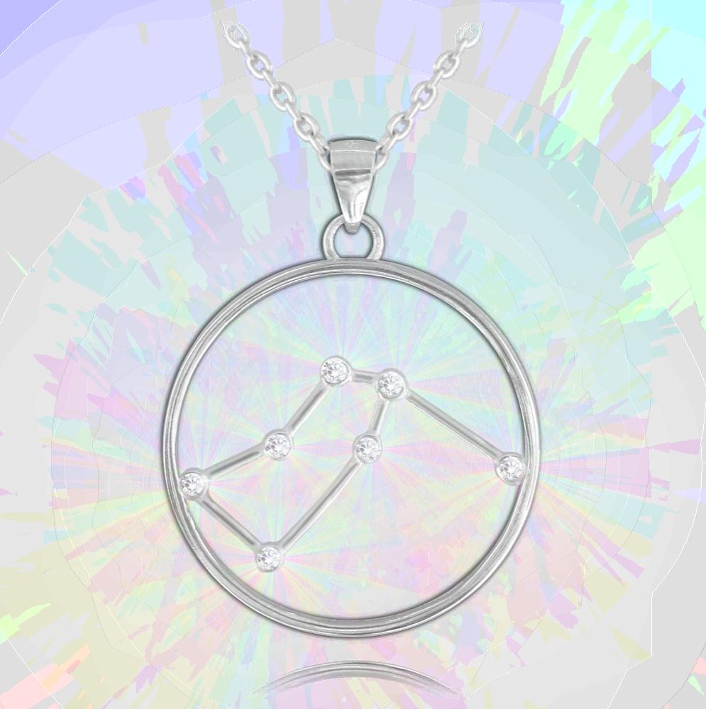 MINET Stříbrný náhrdelník MINET Stars VODNÁŘ Czech Crystal JMAS9502SN45
