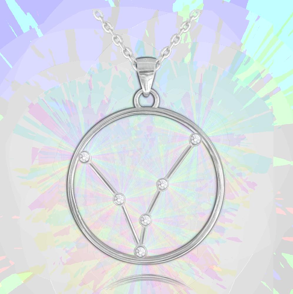 MINET Stříbrný náhrdelník MINET Stars RYBY Czech Crystal JMAS9503SN45