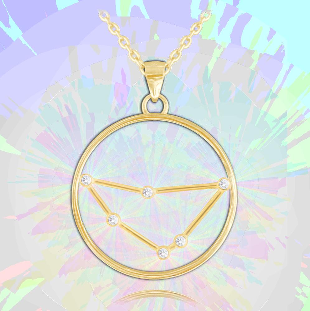 MINET Pozlacený stříbrný náhrdelník MINET Stars KOZOROH Czech Crystal JMAS9501GN45