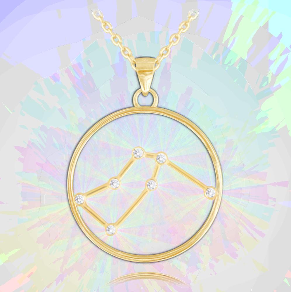 MINET Pozlacený stříbrný náhrdelník MINET Stars VODNÁŘ Czech Crystal JMAS9502GN45