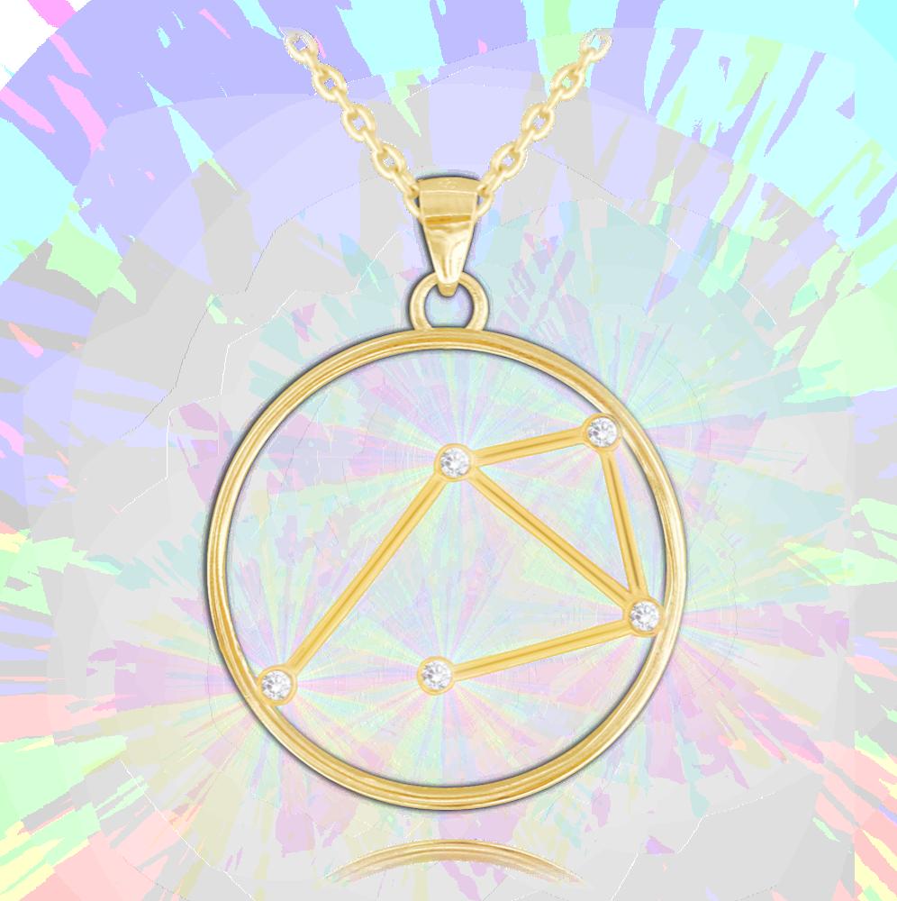MINET Pozlacený náhrdelník MINET Stars VÁHY Czech Crystal