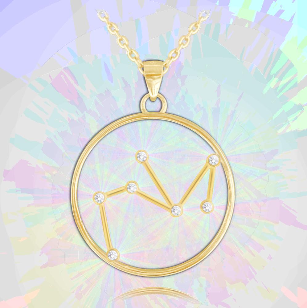 MINET Pozlacený náhrdelník MINET Stars STŘELEC Czech Crystal