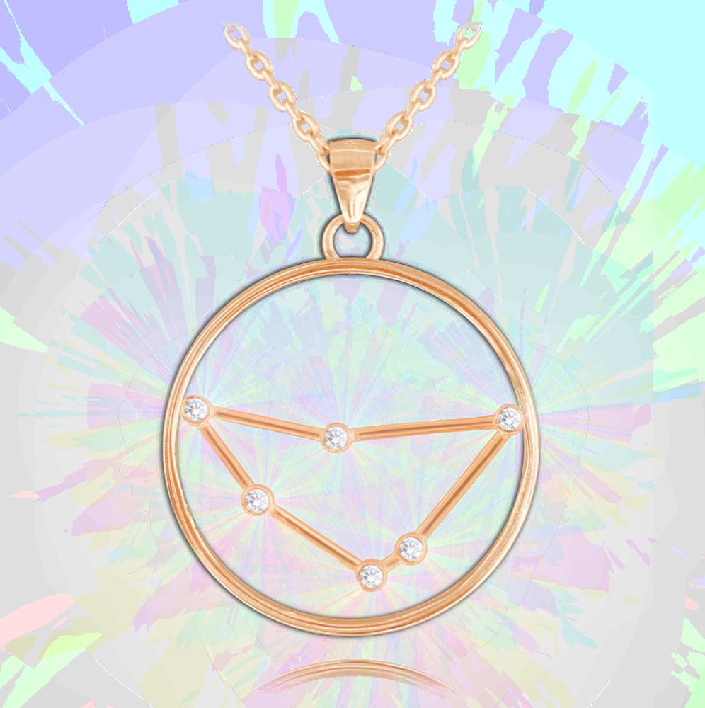 MINET Rose gold stříbrný náhrdelník MINET Stars KOZOROH Czech Crystal JMAS9501RN45