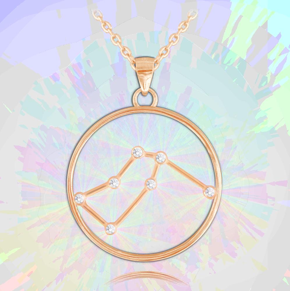 MINET Rose gold stříbrný náhrdelník MINET Stars VODNÁŘ Czech Crystal JMAS9502RN45