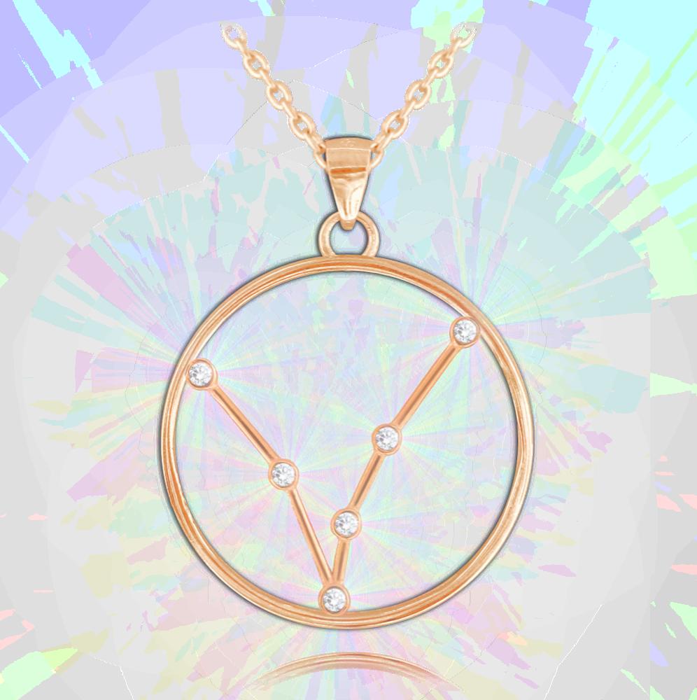 MINET Rose gold náhrdelník MINET Stars RYBY Czech Crystal