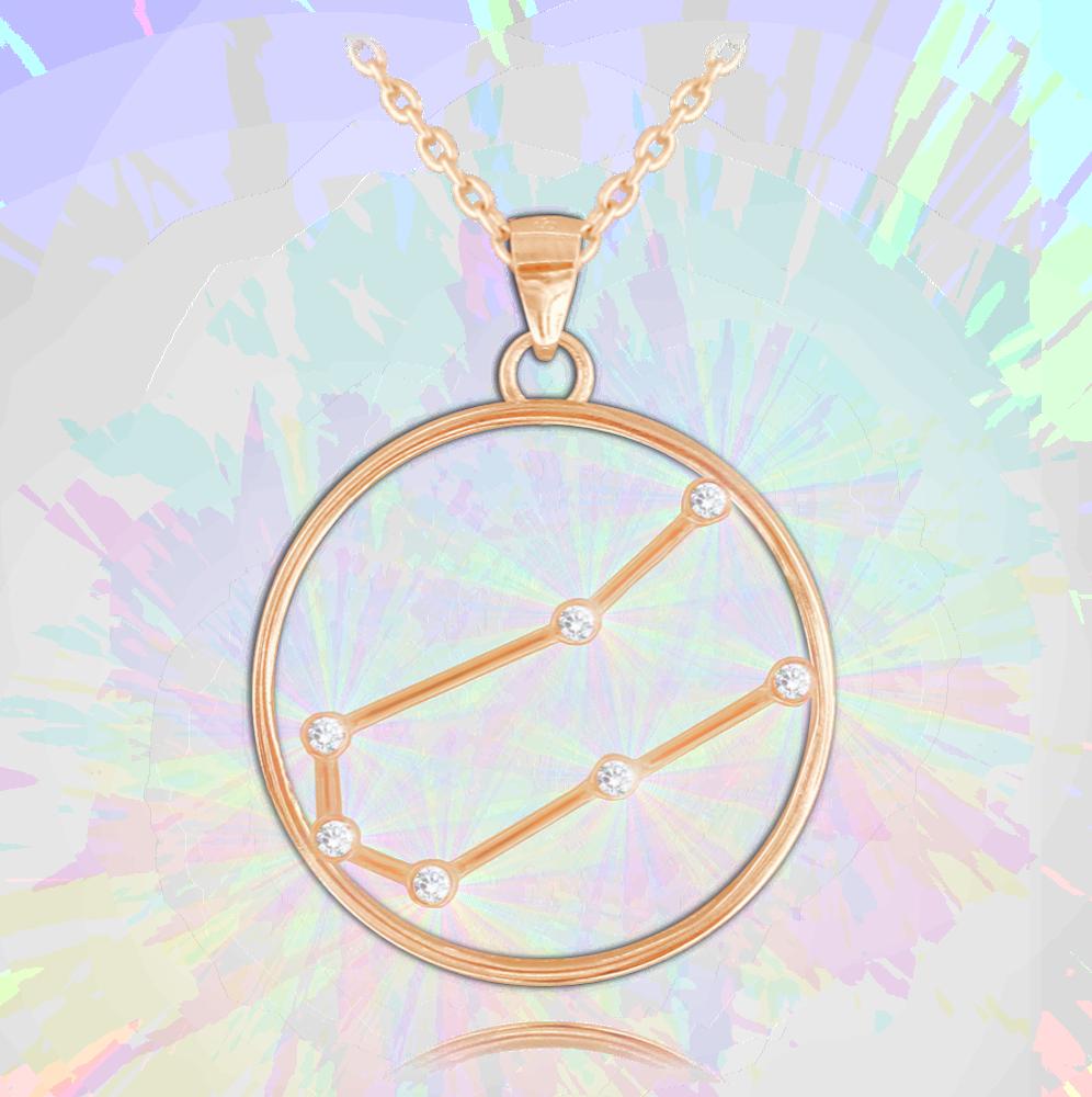 MINET Rose gold náhrdelník MINET Stars BLÍŽENCI Czech Crystal