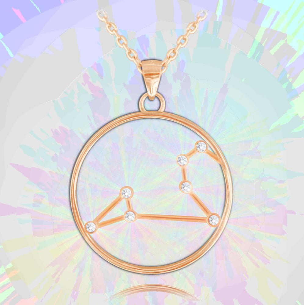 MINET Rose gold náhrdelník MINET Stars LEV Czech Crystal