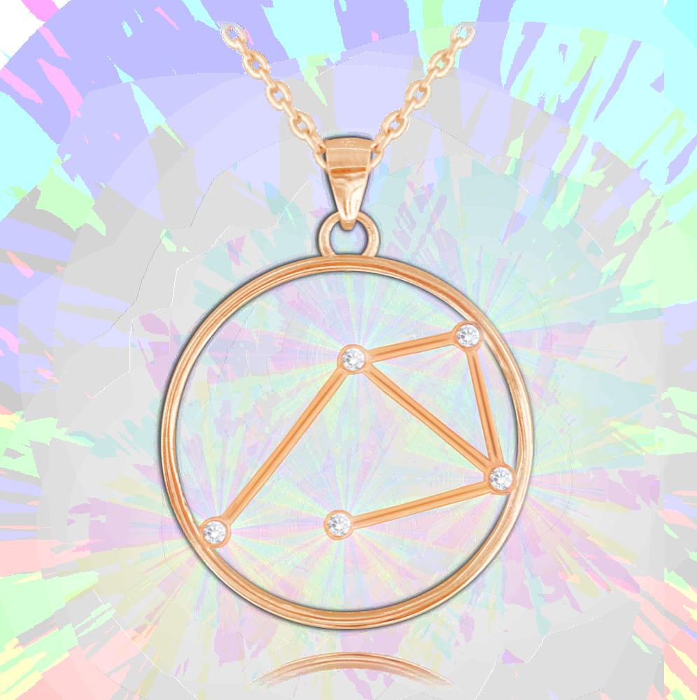MINET Rose gold náhrdelník MINET Stars VÁHY Czech Crystal