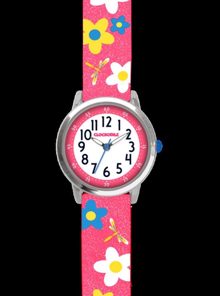 Květované růžové dívčí hodinky CLOCKODILE FLOWERS se třpytkami