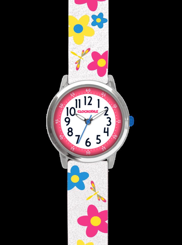 Květované bílé dívčí hodinky CLOCKODILE FLOWERS se třpytkami