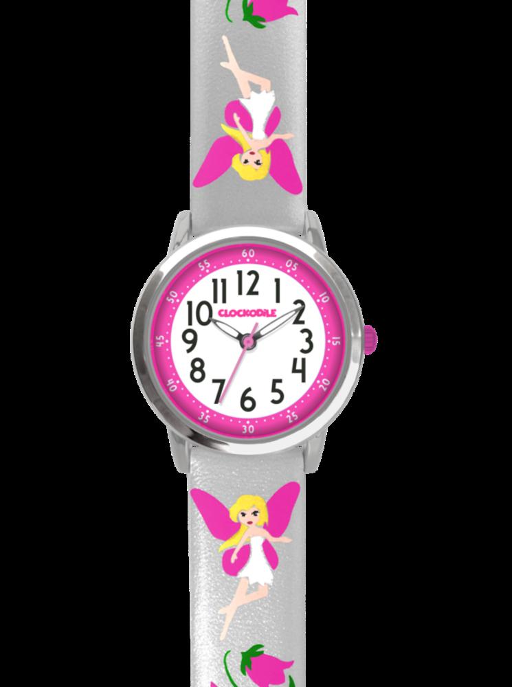 Stříbrné třpytivé dívčí hodinky s růžovými vílami CLOCKODILE FAIRIES