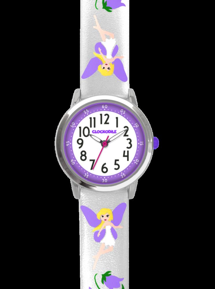 Stříbrné třpytivé dívčí hodinky s fialovými vílami CLOCKODILE FAIRIES