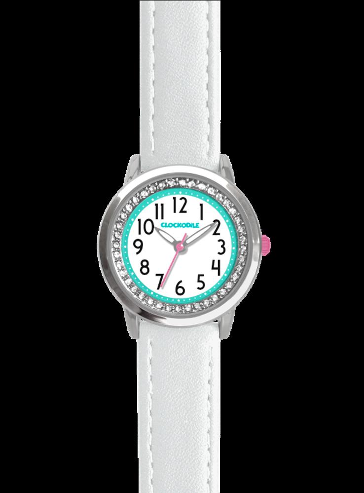 Bílé třpytivé dívčí hodinky se kamínky CLOCKODILE SPARKLE