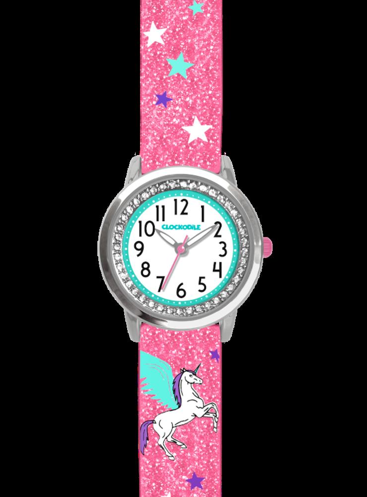 Růžové třpytivé dívčí hodinky s jednorožcem a kamínky CLOCKODILE UNICORN