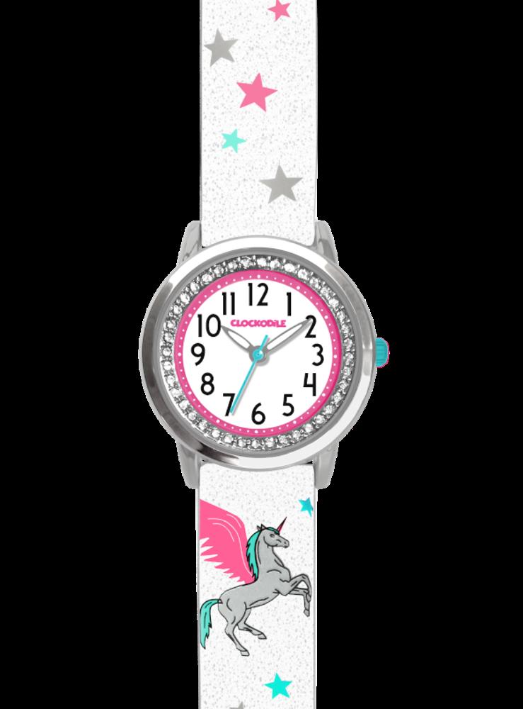 Bílé třpytivé dívčí hodinky s jednorožcem a kamínky CLOCKODILE UNICORN