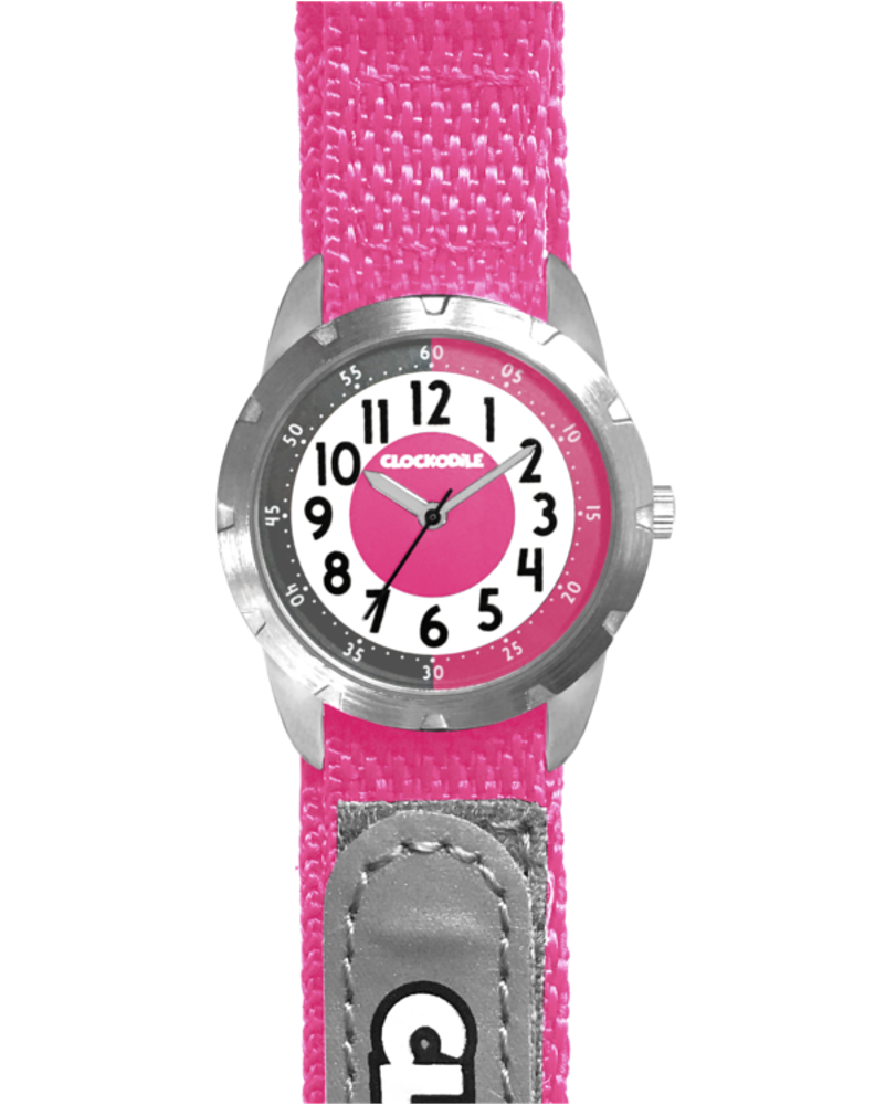 Růžové reflexní dětské hodinky na suchý zip CLOCKODILE REFLEX