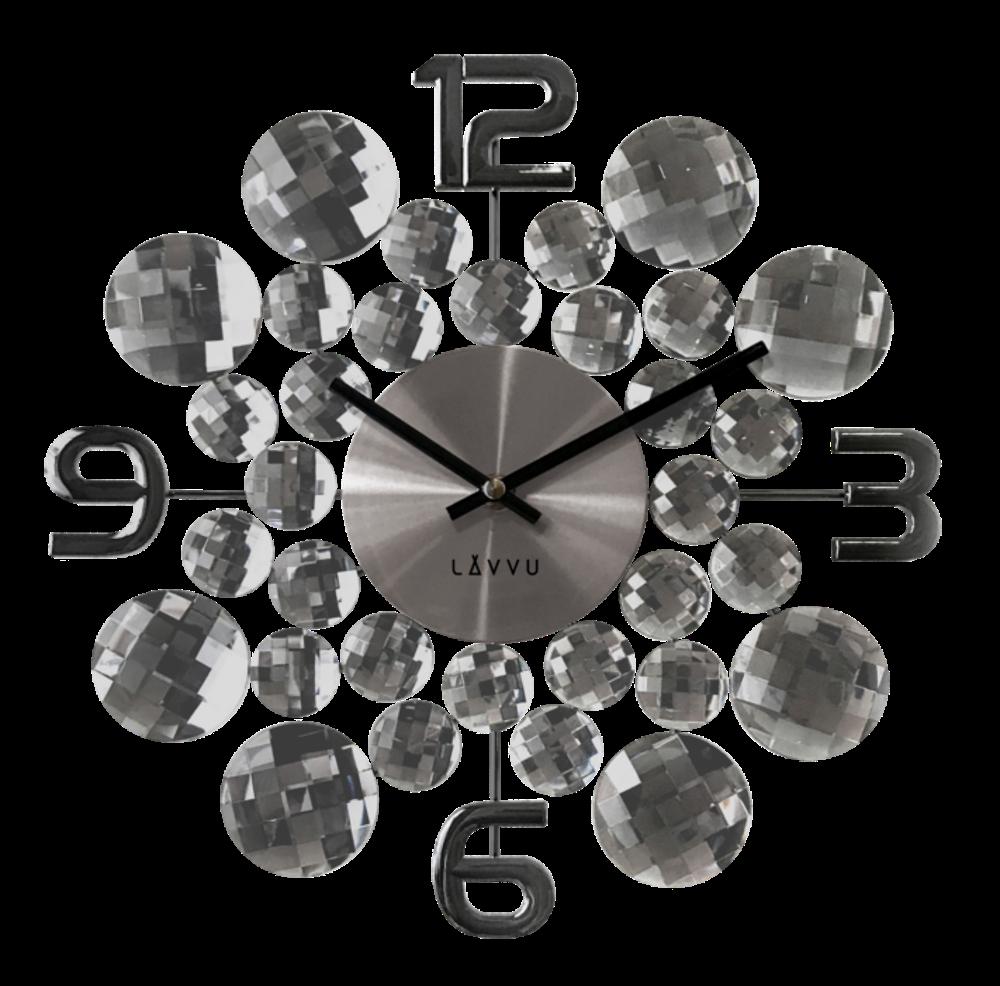 Černé antracitové hodiny LAVVU CRYSTAL Jewel